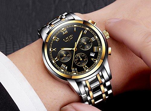 Edelstahl-Band-Herren-Uhren-Fashion-Casual-Quarz-Business-Watch-Wasserdicht-30-M-mit-Chronograph-und-Kalender-Sport-Military-Luminous-Armbanduhr