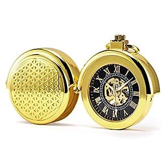 TREEWETO-Retro-Gold-Mechanische-Taschenuhr-Pull-Sonderform-Hohl-Fall-Design-Skelett-Rmische-Ziffern-Taschenuhren-mit-kette-und-Geschenkbox