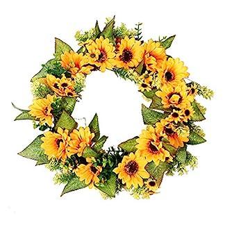 Mottoh-Kranz-Deko-Trkranz-Sonnenblumen-Girlande-Dekoration-Mit-Rattan-Design-Knstliche-Wandkranz-45cm-Fr-Halloween-Ostern-Weihnachten-Thanksgiving-functional