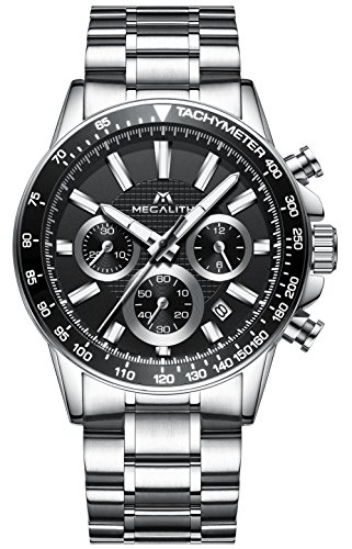 Herren-Edelstahl-Uhren-Mnner-Chronographen-Sport-30M-Wasserdicht-Luxus-Datum-Kalender-Designer-Armbanduhr-Mode-Geschfts-Beilufig-Kleid-Analog-Quarz-Uhr-mit-Schwarz-Zifferblatt-Silber-Uhrenarmband