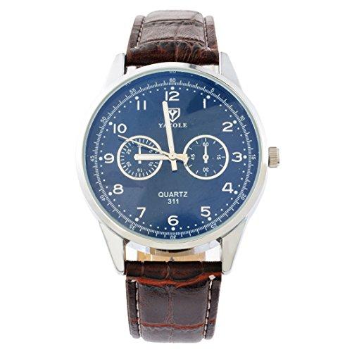 Souarts-Herren-Kaffeebraun-Kunstleder-Armbanduhr-Quarzuhr-Uhr-mit-Batterie