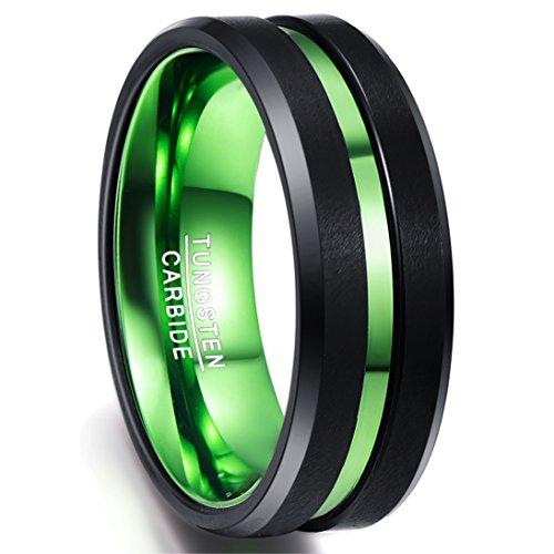 Ring Herren/Damen schwarz-grün 8mm, Nuncad Ring aus Wolframcarbid mit grünem Groove, Comfort-Fit, perfekt für Party, Hochzeit, Verlobung und Hobby, Größe 54 bis 77
