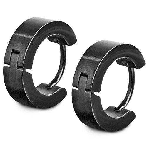 TED COLLINS 2 klassische schwarze Creolen Ohrringe aus Edelstahl, 4mm breit – 2 Jahre Geld-zurück-Garantie – Ohrhänger, Edelstahl-Creolen, Ohrstecker, Kreolen – Klassischer Schmuck für jeden Anlass