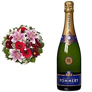 Blumenstrau-Charlotte-mit-rosa-Lilien-Pommery-Brut-Royal-Champagner-1-x-075-l