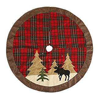 Whiie891203-WeihnachtsdekoPlaid-Elk-Print-Schrze-Teppich-Rock-Carpet-Boden-Matte-Weihnachtsbaum-Decke-Deko-Christbaumstnder-Boden-Home-Hotel-Party-Dekorationen-Ornamente
