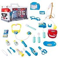 Winni43Julian-Arzt-Spielzeug-fr-Kinder-25-Stck-Doktorkoffer-Kit-mit-Ambulance-und-Blutdruckmessgert-Doktor-Spielzeug