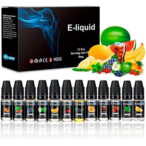 E Liquids ohne Nikotin, E-liquids 12 X 10mL, E-Zigaretten Liquid Set 50VG/50PG Refill Electronic Cigarette, für Elektronische Zigaretten, Shishas Nikotinfrei