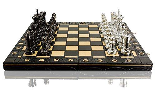 SILBER-STAUNTON-40cm-16in-metallisierte-Kunststoff-Staunton-No5-Figuren-Schachspiel-Holz-Schachbrett-Metall-geladen-Schachspiel