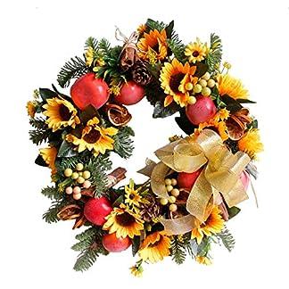 Knstliche-Weihnachtskranz-Dekoration-Herbst-Serie-Sonnenblumen-Obst-Girlande-fr-Erntedankfest-Halloween-Weihnachten-Innen-und-Auendekoration
