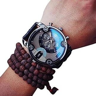 Ularma-Herren-51mm-Gro-Dial-Uhr-PU-Leder-Band-Hbsch-Punk-Steam-Quarz-Analog-Armbanduhr