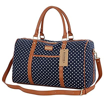 BAOSHA-HB-25-Frauen-Damen-Canvas-Travel-Duffel-Bag-Segeltuch-Reisetaschen-Handgepck-Weekender-Tasche-fr-Wochenende-und-bernachtung-Mit-PU-Leder-Dekoration