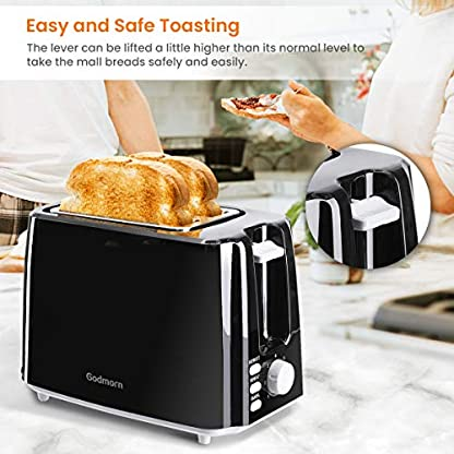 Godmorn-Toaster-Doppelschlitz-Brtchenaufsatz-7-Brunungsstufen-750-W-Edelstahl-Schwarz