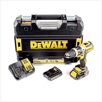 DeWalt-XR-Akku-Schlagbohrschrauber-Schlagbohrer-mit-LED-Licht-zum-Schrauben-Bohren-und-Schlagbohren-1x-Schlagbohrmaschine-Li-Ion-18-Volt-2-Akkus-Ladegert-und-TSTAK-Box-DCD795S2