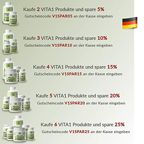 Vita 1 Glucomannan 500 mg 90 Sättigungskapseln (2 Wochen Vorrat) veganer Appetitzügler aus der Konjacwurzel, 56 g