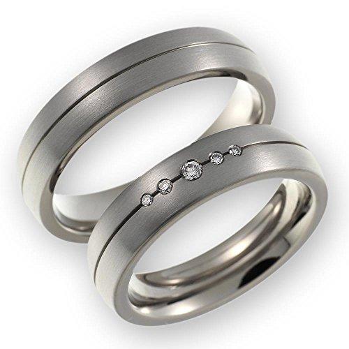 CORE by Schumann Design Trauringe Eheringe aus Titan/Titanium mit echten Diamanten inkl. Gravur ST051.09