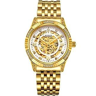 binlun-Herren-18-K-Gold-Ton-Edelstahl-Skelett-Armbanduhr-mit-Leuchtzeigern