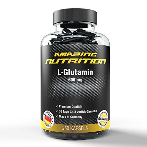 L-Glutamin – 600mg pro Kapsel – Ideal für den Muskleaufbau und stärkung des Immunsystems – 250 Kapseln – Qualität made in Germany