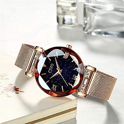 CIVO-Uhren-Damen-Rosgold-Armbanduhr-fr-Frauen-Damen-wasserdichte-Edelstahl-Mesh-Elegantes-Kleid-Analog-Uhren-mit-Sternenhimmel-Zifferblatt