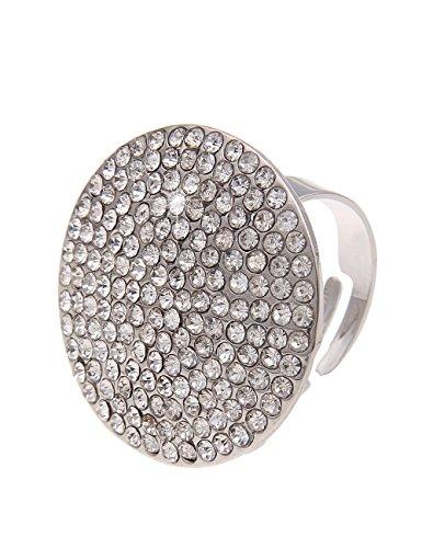 Leslii Damen-Ring Glitzer Scheibe Silber Metalllegierung Strass Größe verstellbar 250114586