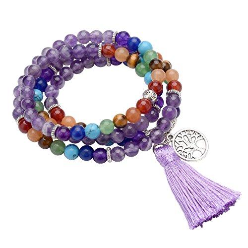 QGEM 108 Perlen Edelstein Yoga Armband Wickelarmabnd Chakra lebensbaum Buddha Buddhistische Tibetische Gebetskette Healing Reiki Mala Kette Halskette mit lebensbaum Anhänger