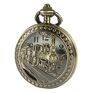 SIBOSUN-Antik-Manner-Taschenuhr-Mit-Kette-Bronze-Fall-3D-Lokomotive-Dampf-Zug-Eisenbahn-Hohl-Box
