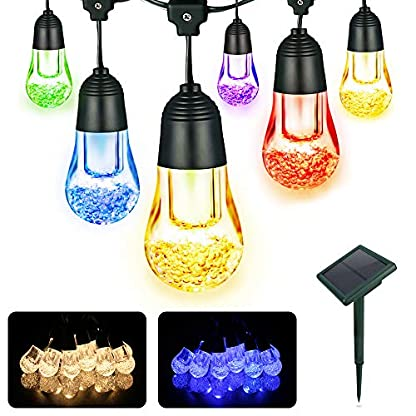 YWTESCH-Solar-Led-Lichterkette-mit-Led-Kugel-53m-12LEDs-Wasserdicht-Beleuchtung-mit-Lichtsensor-fr-Auen-Garten-Terrasse-WeihnachtsbaumPartys-usw-Warmwei-Bunt