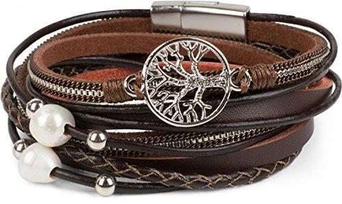 styleBREAKER Wickelarmband mit Perlen, Ketten, Flechtelement und Lebensbaum Anhänger, Magnetverschluss, Armband, Damen 05040070
