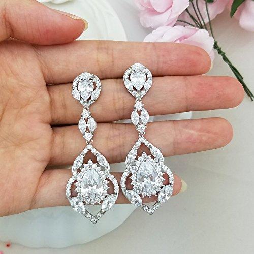 QUKE Silber-Ton CZ österreichische Kristall Wasser Tropfen Braut Hochzeit Baumeln hängend Ohrringe