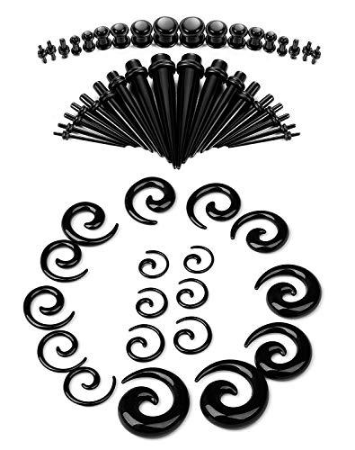 BE STEEL 14G-00G 54Pcs Acryl Ohr Dehnung Kit Set Piercing Taper und Plugs Spiral Taper Tunnel Ohr Knochenstab Dehnungsset Dehnstab Piercing