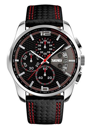 SKMEI-Unisex-Uhr-Herren-Damen-Armbanduhr-Leder-Analog-Quarz-Uhren-mit-Kalender-Chronograph-5ATM-Wasserdicht-Klassische-Uhr-Schwarz-Rot-3108