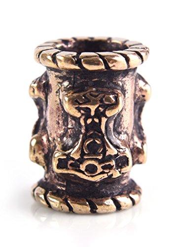 Bartperle Wikinger / Dreadlockperle / Schmuckperle aus Bronze mit Thorshammer 6mm Innendurchmesser
