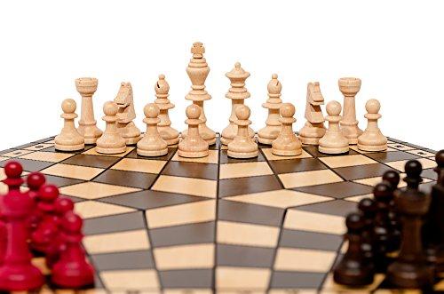 Master-of-Chess-3-SPIELER-CHESS-35cm-14in-Holz-Schachspiel-Handcrafted-einzigartiges-Spiel
