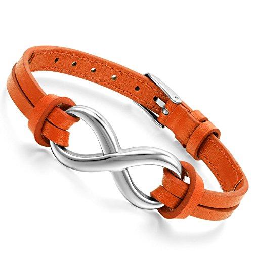Flongo Lederarmband Männer Armreif Damen Armband, Edelstahl Leder Echtleder Armband Armreifen Infinity Unendlichkeit Zeichen Symbol Verstellbar Passend 7~9 Zoll Herren,Damen