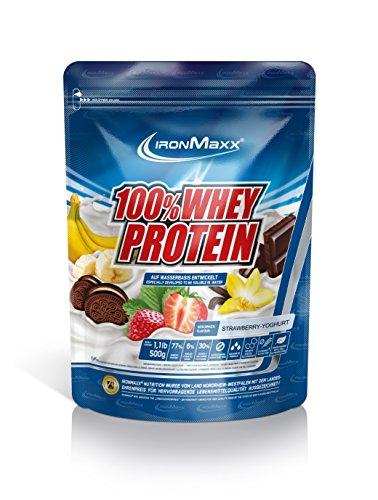 IronMaxx 100% Whey Protein / Proteinpulver auf Wasserbasis für Fitness-Shake / Eiweißpulver mit Erdbeer Geschmack / 1 x 500 g Beutel