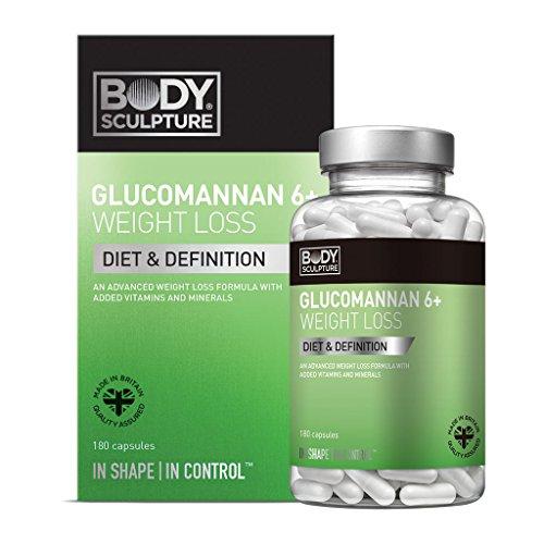Body Sculpture Glucomannan 180 Kapseln Konjac Mannan Vitamine Mineralstoffe Weight Loss-Formel zur Gewichtsreduktion und gesunde Verdauung