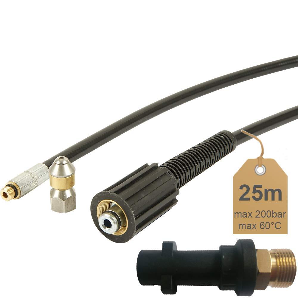 Rohrreinigungsschlauch-25m-200bar-60C-inkl-Dse-rotierend-inkl-Adapter-geeignet-fr-Hochdruckreiniger-Krcher-von-McFilter