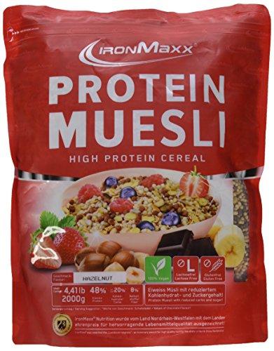IronMaxx Protein Müsli Haselnuss / Veganes Fitness Müsli laktosefrei und glutenfrei / Eiweiß Müsli mit Haselnussgeschmack / 1 x 2 kg