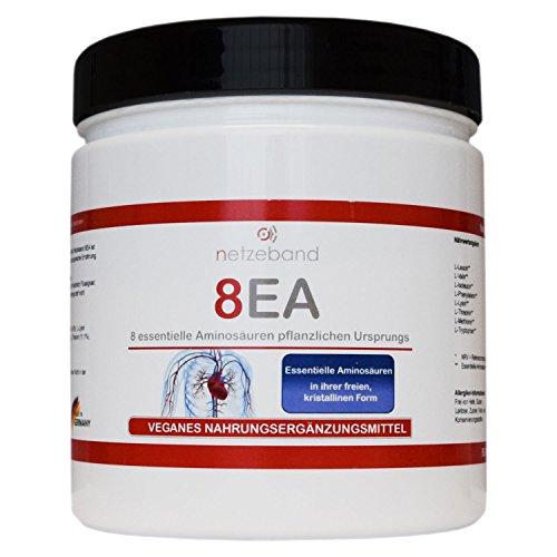 Netzeband 8EA – 8 essentielle Aminosäuren Vegan im optimalen Verhältnis L-Leucin, L-Valin, L-Isoleucin, L-Phenylalanin, L-Lysin, L-Threonin, L-Methionin und L-Tryptophan
