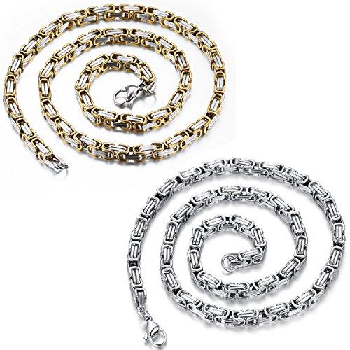 JewelryWe Schmuck Herren Männer Kette, Edelstahl Biker Königskette Halskette, Gold Silber, Breite 5mm, Länge 55cm