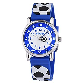 KZKR-Kinderuhr-Fuball-Jungen-Armband-Uhr-Kinder-Armbanduhr-Blau-Sportuhr-Lernuhr-K091