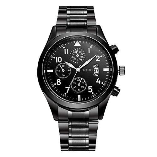Godagoda-Herren-Armbanduhr-Schwarz-Edelstahl-Datum-Geschft-Wasserdicht-Quarzuhr-Geschenke