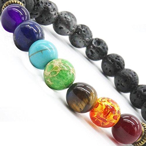 Lava Armband 7 Chakra Healing Balance Armband Damen und Herren Zen-Buddhismus Armreif Yoga Lava-Stein Energietherapie Modeschmuck