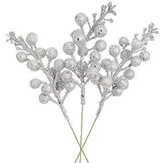 YQing-14-Stck-Knstlich-Rote-Beeren-Weihnachten-Picks-198cm-Zweig-Beeren-Deko-fr-Christbaumschmuck-DIY-Weihnachtskranz-Kunsthandwerk-Urlaub-und-Wohnkultur-Silber
