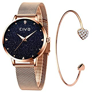 CIVO-Damen-Uhren-Damen-wasserdichte-Analoge-Quarzuhren-mit-Rosgold-Edelstahl-Armband-fr-Frauen-Damen-Elegante-Business-Armbanduhr-mit-Blauem-Sternenhimmel-Zifferblatt