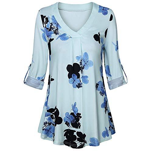 GJKK-Bluse-Damen-Herbst-bergre-Shirt-Langarm-T-Shirt-Blumendruck-V-Ausschnitt-Taste-Tops-Oberteil-Beilufige-Fasching-Partytop-Lose-Langshirt-Hemd-Tunika
