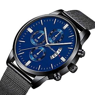 Souarts-Armbanduhr-Mnner-Analog-Mesh-Armband-Edelstahl-Schwarz-Zifferblatt-Business-mit-Datum-Quarzuhr-Geschenk-fr-Herren-Schwarz