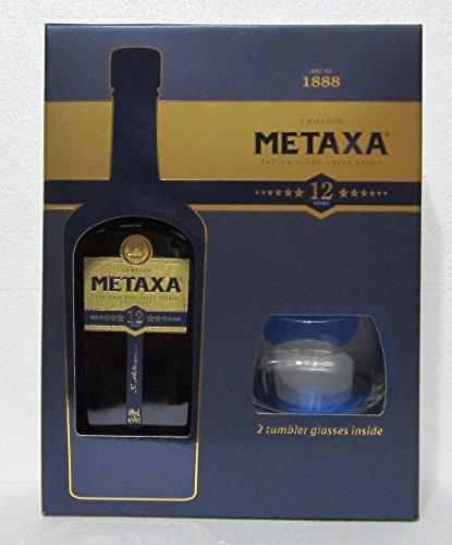 Metaxa-Zwlf-Sterne-Weinbrand-in-GP-mit-zwei-Glsern-40-07l-Flasche
