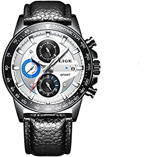 LIGE-Herren-Uhr-Analog-Quarz-mit-Leder-Armband-9835