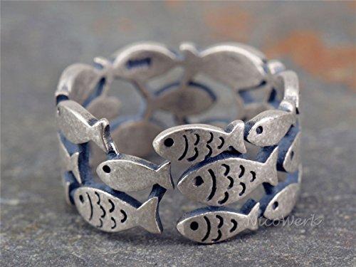 NicoWerk Silberring Fisch Mehrreihig Natur Ring Silber 925 Verstellbar Damenringe Damen Schmuck SRI215