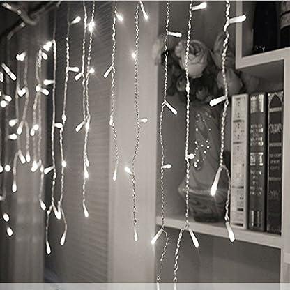 200er-LED-5m-Eisregen-Lichterkette-Lichtervorhang-Eiszapfen-Auen-Innen-Deko-fr-Garten-Party-Hochzeit-Strombetrieben-mit-Stecker-Gresonic